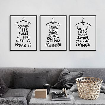 Black White Fashion Abstract Poster Prints Motivational Typography Quotes Picture Canvas Painting No Frame Girls Room Wall Decor