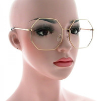 Oversized Octagon Clear Hippie Sunglasses - Janis