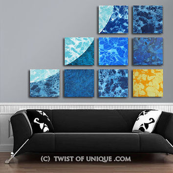Corporate Wall art / ORIGINAL 9 panel (15 Inch  x 15 Inch) / Colorful Watercolor art / blue, ice blue, Yellow