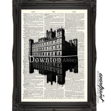 Downton Abbey Tribute Original Print on an Antique Unframed Upcycled Bookpage