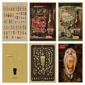 Funny Beer retro Poster Retro Kraft Paper Bar Cafe Home Decor Painting Wall Sticker