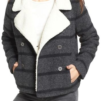 Amuse Society Rhodes Stripe Peacoat with Faux Fur Lining | Nordstrom