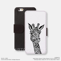 Giraffe pattern iPhone leather wallet cover iPhone case Samsung Galaxy case 094