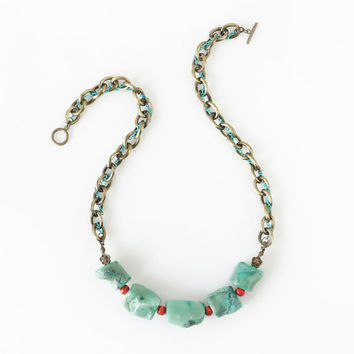 Mint Green Coral Statement Necklace with Brass Cable Link, Green Statement Jewelry