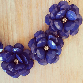 Blue, Navy Blue, Beaded Rose Necklace, J Crew Inspired, Bib Necklace, Flower Necklace, J Crew