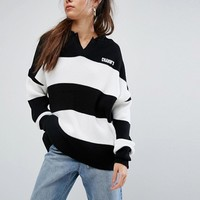 Charms Knitted Top With Collar And Logo In Bold Stripe at asos.com