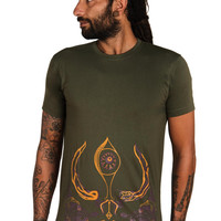Mens Trishul T shirt- Men's tee- Shiva T shirt- Yoga gift-Spiritual shirt -Third Eye-Tribal T shirt-Graphic tee-Graphic T shirt-Indian Art