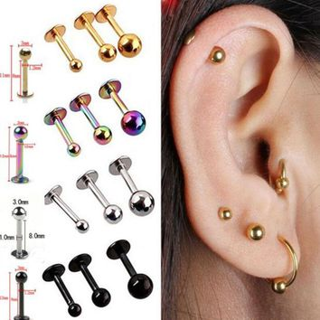 DCCKHY9 5Pcs/lot 16G 18G Tragus Helix Bar 3-4mm Ball Stainless Steel Labret Lip Bar Rings Stud Cartilage Ear Piercing Body Jewelry