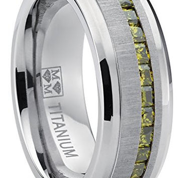 Men's Eternity Titanium Wedding Band Engagement Ring W/ Green Simulated Peridot Cubic Zirconia Princess Cut CZ | FREE ENGRAVING