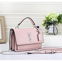 YSL Fashion New Leather Shoulder Bag Women Leisure Crossbody Bag Pink