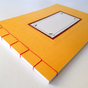 Customizable handmade orange sketchbook journal with hardcovers, stab bound notebook, custom sketchbook, artist sketchbook, 60 sheets