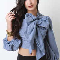 Bow Tie Collar Puff Sleeve Crop Top