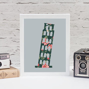 Floral Leaning Tower of Pisa 8x10 Print // Home Decor // Tower of Pisa Print // Italy Wall Art