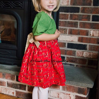 Christmas, holiday dress, reindeer. Gold sparkled chevron,peasant style, green polka dots, poinsettia