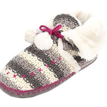 winfunup Womens Indoor Bootie Knit Slippers Pom Pom