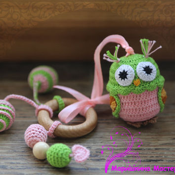 Crochet  Baby Toy - Baby Teething Waldorf Toy  - Crochet  Sensory Owl Toy