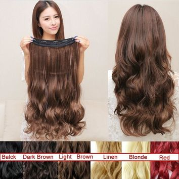 2017 Women Fashion Long Curly Clip in Hair Extensions One Piece 24 inches 60CM Curly Red Black Brown Blonde HairPiece Synthetic
