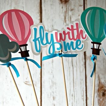 Hot Air Balloons Birthday Party Centerpiece, Fly Away Party Decorations, Balloon Party Centerpiece