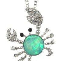 Cute Crystal and Iridescent Aqua Blue/Pink/Green Crab Charm Necklace for Girls Teens and Women:Amazon:Jewelry