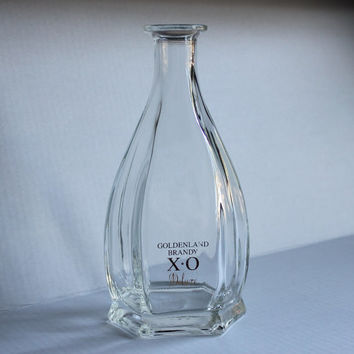 Goldenland Brandy X O Bottle, Vintage Bar Carafe Wine Decanter, Art Project Jar