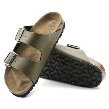 Sale Birkenstock Arizona Birko Flor Pull Up Olive 1009982/1009983 Sandals