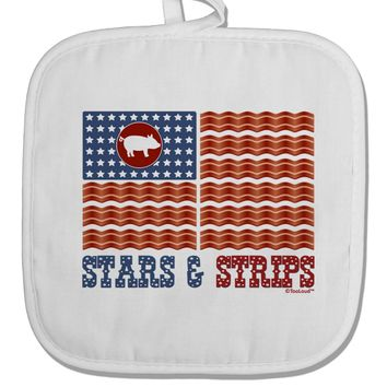 American Bacon Flag - Stars and Strips White Fabric Pot Holder Hot Pad