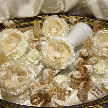 Set of 25 pieces, Ivory Silk Peony Fabric Flowers with Vintage Lace Centers and Burlap Lace Bows for weddings, cake toppers, bouquet making,