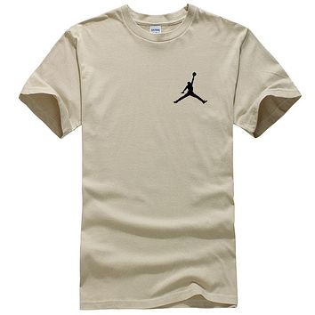 NIKE Jordan Summer New Fashion People Print Women Men Top T-Shirt Khaki