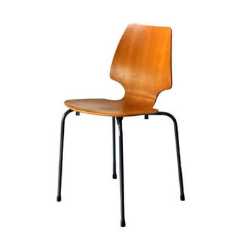 2 x Mid Century Danish Modern Chairs // Designed by Arne Jacobsen for Jofa Denmark // Molded Plywood danish oak chair - 60s
