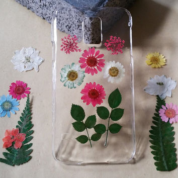 Clear galaxy S5 case note edge case s6 edge case samsung note 3 case s6 case S5 case note 4 case S4 case iphone 5 case pressed flower case
