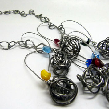 Original long necklace all handmade , wire wrapped original work , colorful , bright glass art necklace , chunky statement modern art