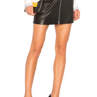 rag & bone/JEAN Racer Skirt in Black Leather