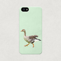 Watercolour Style Goose on a Green Background iPhone 4 4s 5 5s 5c Case