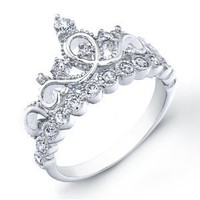 14K White Gold Princess Crown CZ Ring