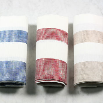 Color Block Linen Dish Towel
