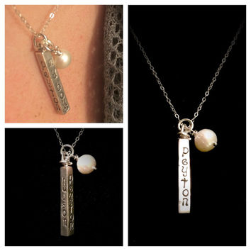 4 Name Swivel Bar Pendant: Sterling Silver Hand Stamped 4 Sided with Freshwater Pearl by Tickle Bug Jewelry