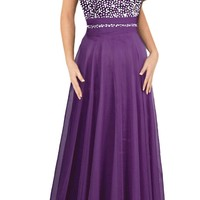 Faironly Women's Purple Halter Prom Formal Evening Dresses (XXL)