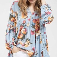 Wentz Powder Blue Floral Blouse by Blu Pepper