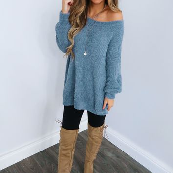 Cozy Cuddle Sweater: Ice Blue
