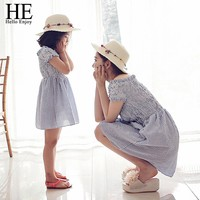 Mother daughter dresses Family Matching Outfits striped dress family clothing mother and daughter clothes