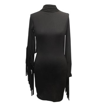 Chic Tutleneck Long Sleeve Fringed Pure Color Bodycon Mini Dress for Women