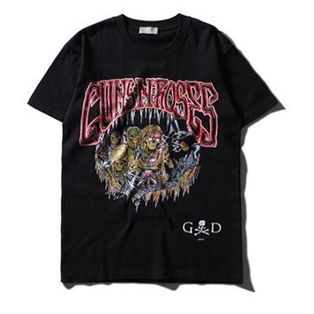 Men Tshirt Summer 2017 Guns N' Roses Skeleton Print T-shirt