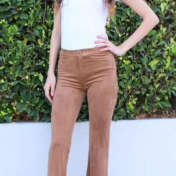 Suede Bootcut Trousers