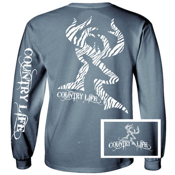 Country Life Outfitters Blue Zebra Deer Head Hunt Vintage Unisex Long Sleeve Bright T Shirt
