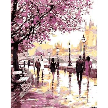 Frameless Romantic Gardan DIY Painting By Numbers Landscape Modern Wall Art Canvas Hand Painted Oil Painting For Home Decoration