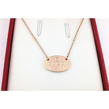 GUCCI Trending Women Stylish Rose Golden Simple Classic Titanium Steel Necklace I-HLYS-SP