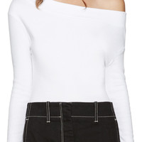 White Single-Shoulder T-Shirt