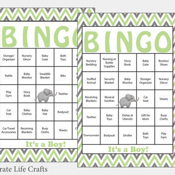 60 Elephant Baby Shower Bingo Cards -  60 Prefilled Bingo Cards - Boy Baby Shower Game - Mint Gray - Printable Download - B3005