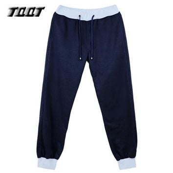 TQQT Men'S Pants Casual Trousers Navy Joggers Panelled Track Pants Cotton Overalls Men Heavyweight Cargo Pants Men 7P0131