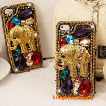 For Mobile Phone Lovely Metal Elephant Crystals Bling Diamonds Hard Cover Case